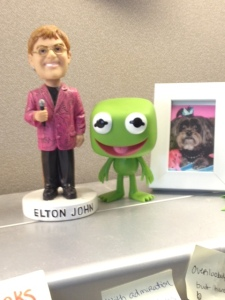 I need all my favorite things on my desk at work.  Elton bobblehead, Kermit and a photo of Belle.